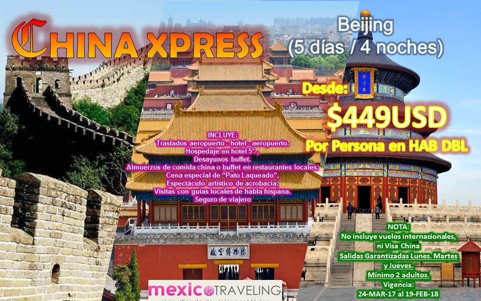 A China Xpress 24 mar al 19 feb 2018